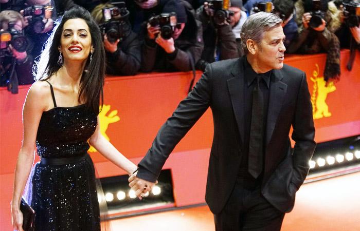 Джордж Клуни с супругой Амаль Аламуддин на красной дорожке Берлинале