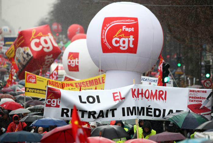 Шествие против реформы трудового законодательства в Париже