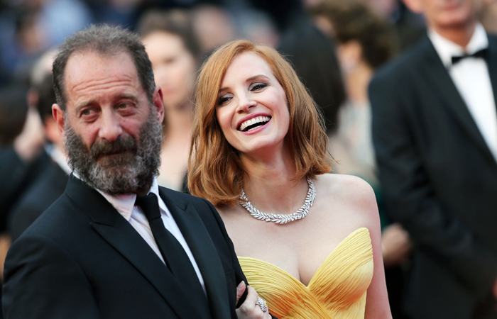 Актер Венсан Линдон и актриса Джессика Честейн на красной дорожке 69-го Каннского кинофестиваля