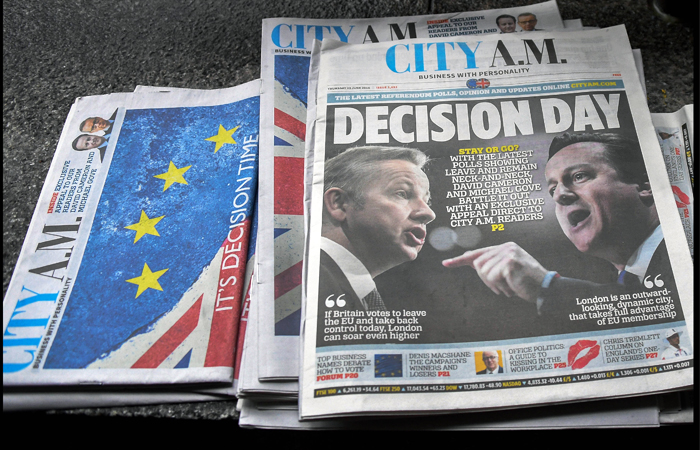 Первые полосы британских газет, посвященные референдуму