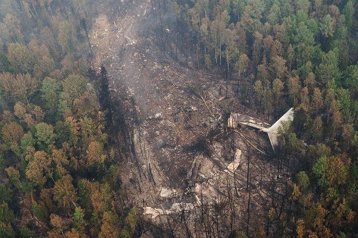 Место падения Ил-76 в 4 км южнее населенного пункта Рыбный Уян на склоне одной из сопок