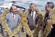 Президент Киргизии Аскар Акаев, президент Узбекистана Ислам Каримов и глава Казахстана Нурсултан Назарбаев (слева направо) в Акмолинской области на севере Казахстана. 1993 год.