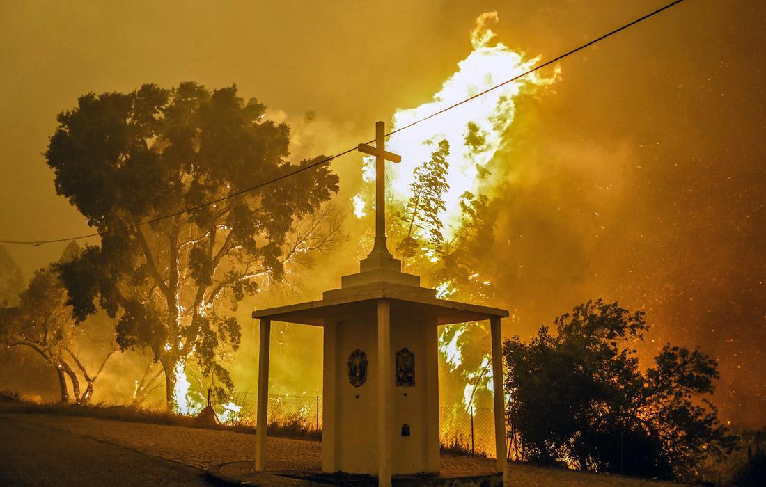 По словам португальского премьера Антонио Косты, причиной пожаров, охвативших страну, стал удар молнии. В этом регионе прошли так называемые сухие грозы, когда наблюдается гром и молния, но дождь испаряется, не достигнув земли из-за высоких температур.