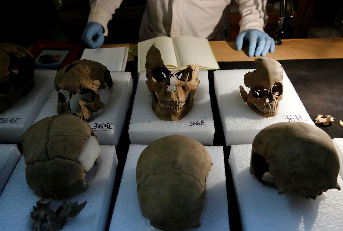 По мнению историков, черепа принадлежали воинам, которые попадали в плен к ацтекам. Однако отмечается, что помимо мужских останков было найдено множество черепов, принадлежавших женщинам и детям.