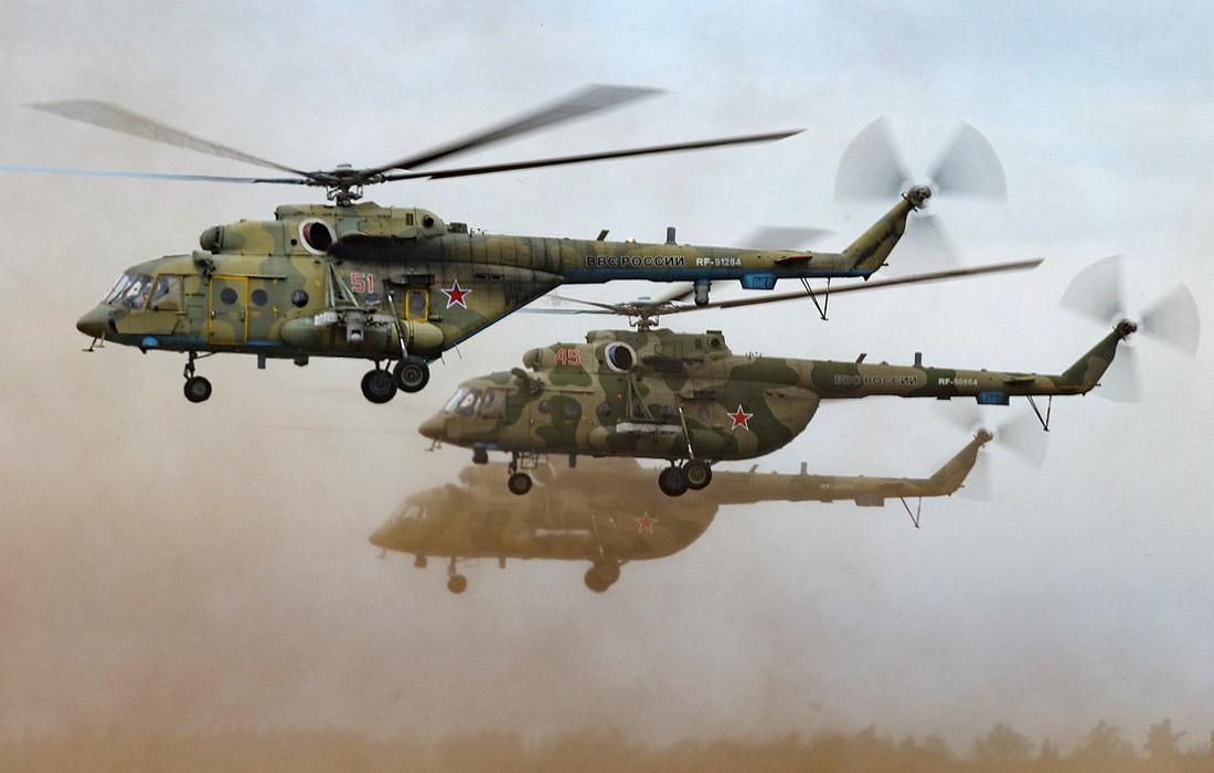 Вертолеты Ми-8АМТШ во время военных маневров российских и китайских вооруженных сил