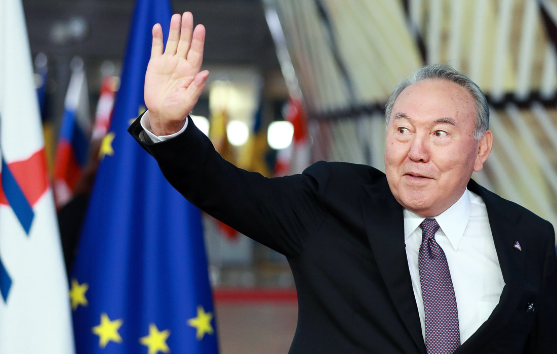 Президент Казахстана Нурсултан Назарбаев прибывает на Азиатско-европейский саммит в Брюсселе, Бельгия. 2018 год.