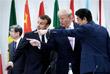 Президент Франции Эммануэль Макрон, президент США Дональд Трамп и премьер-министр Японии Синдзо Абэ