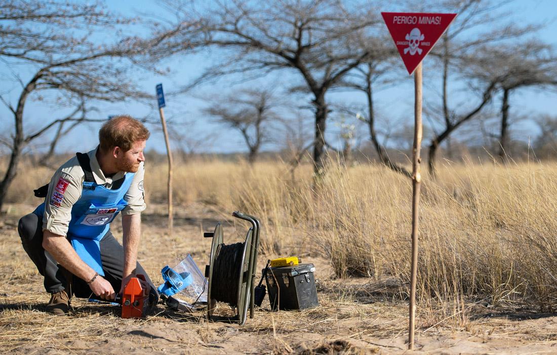 Гарри принимает участие в дистанционном подрыве мин. 2019 год.