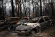 Сгоревшие автомобили в деревне Мого