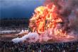 Сожжение арт-объекта в парке Никола-Ленивец в Калужской области