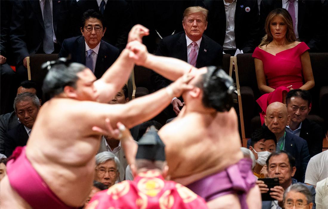 25 мая 2019 года Дональд Трамп вместе с первой леди Меланией Трамп, премьер-министром Японии Синдзо Абэ и его супругой Акиэ посетили турнир по японскому единоборству в Токио