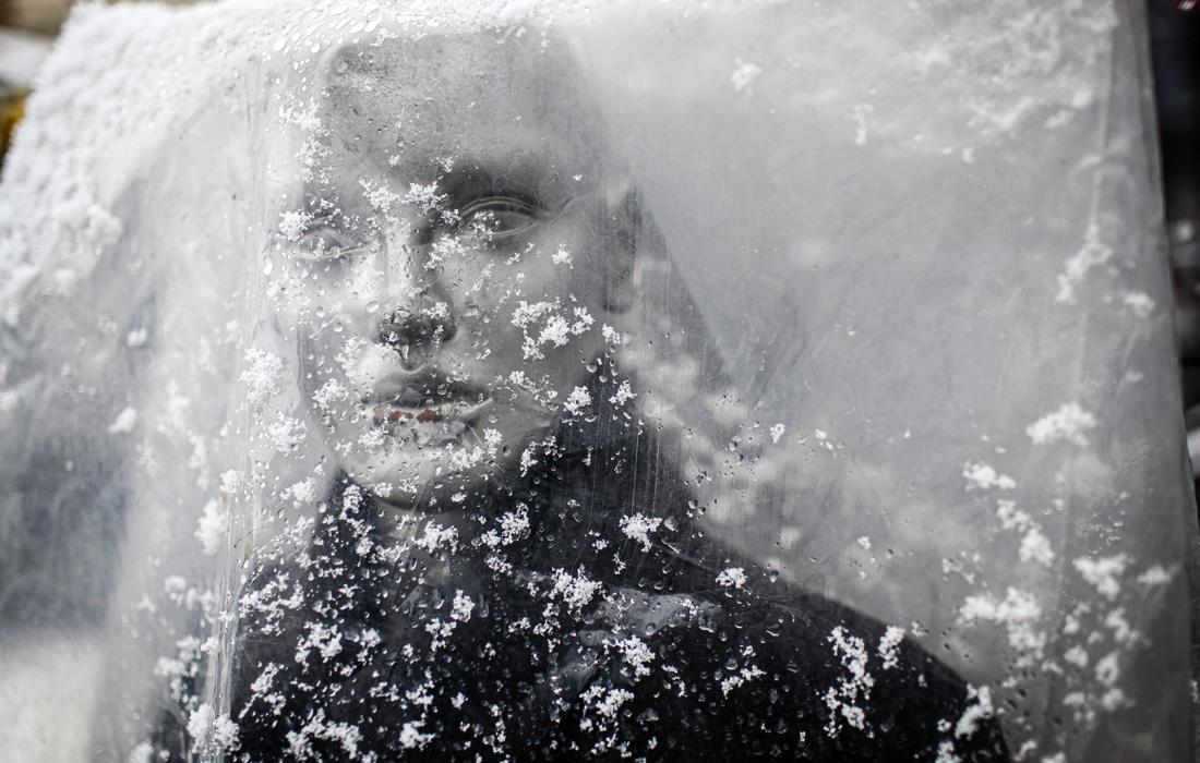 Сильный снегопад в Приштине, Косово
