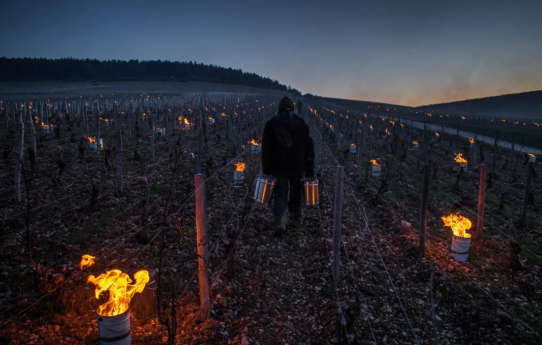 Ночью рабочие поддерживают огонь в бочках