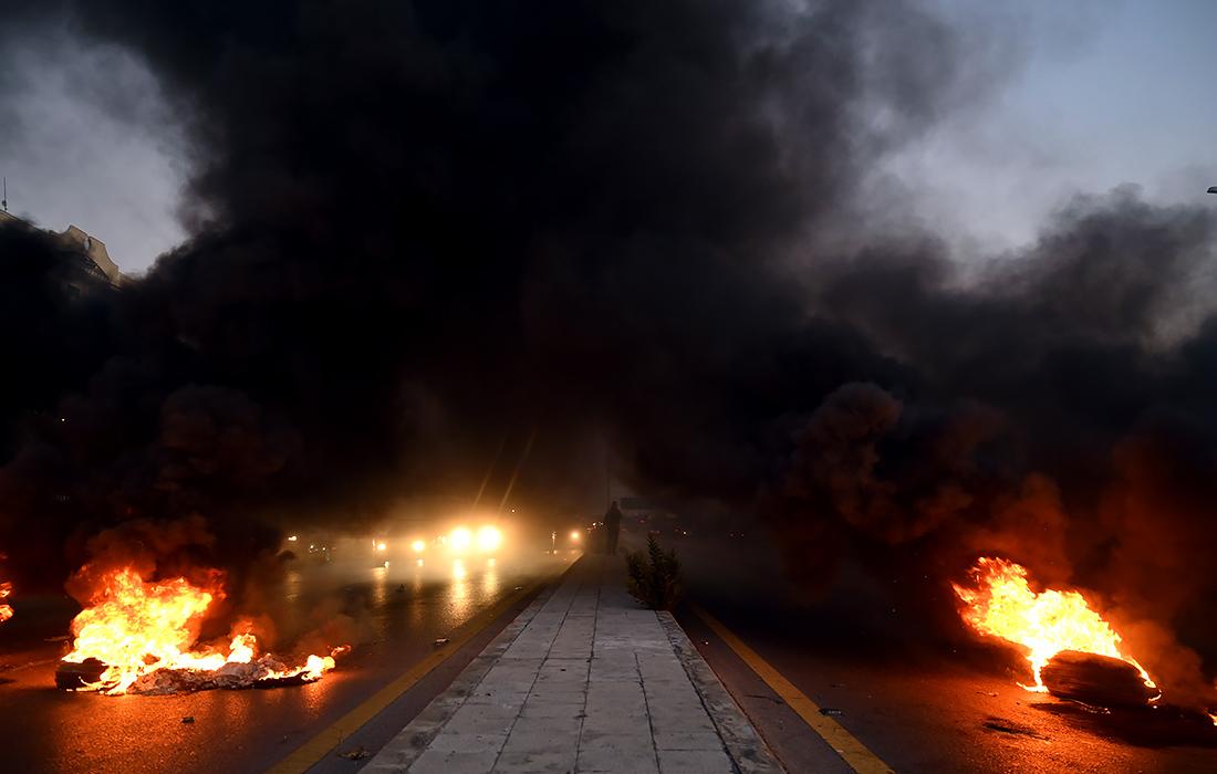 Антиправительственный протест в Бейруте