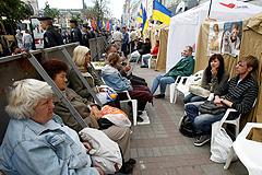 Киев: плакаты, флаги, палатки