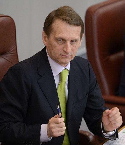 Председатель Государственной Думы РФ Сергей Нарышкин на пленарном заседании нижней палаты российского парламента.