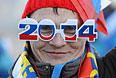 Российский болельщик во время квалификации слоупстайла на соревнованиях по сноуборду среди женщин на XXII зимних Олимпийских играх в Сочи.