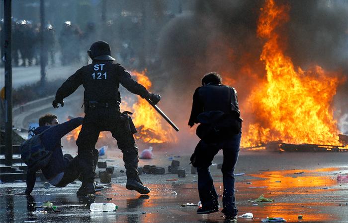 Во Франкфурте задержаны сотни участников беспорядков