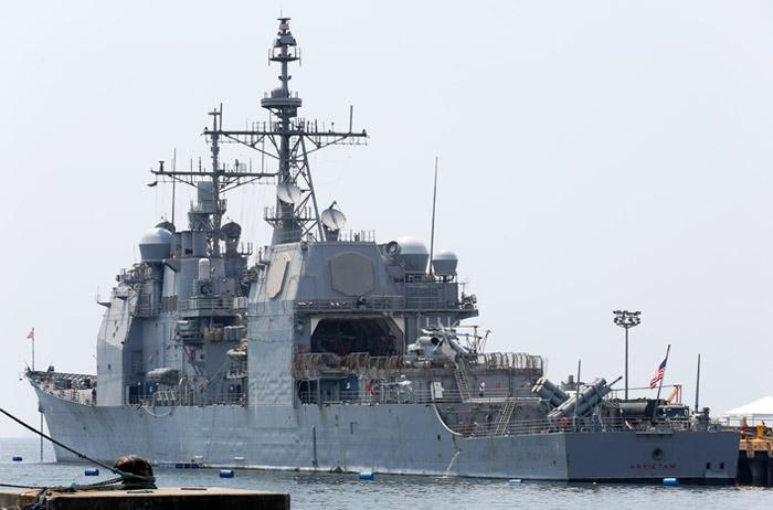 Крейсер ВМС США сел намель вТокийском заливе