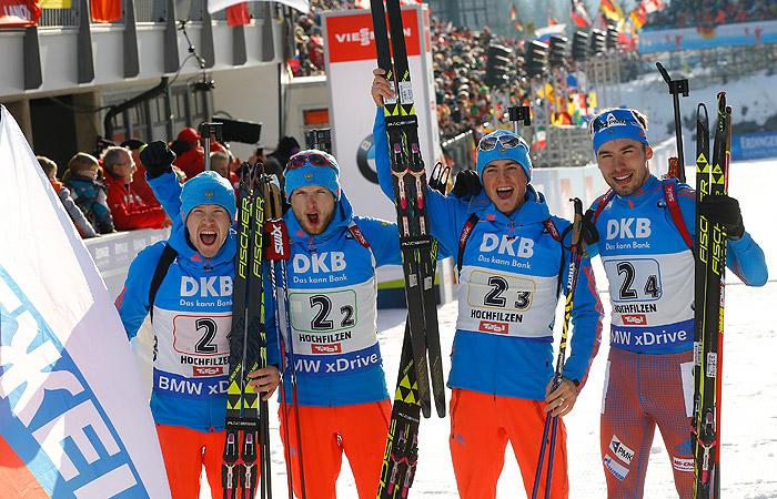 Мужская сборная России завоевала золото в эстафете на ЧМ по биатлону