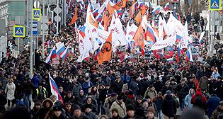 Акция памяти Бориса Немцова в Москве