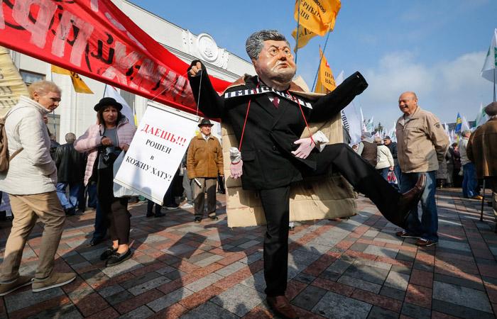 В Киеве произошли столкновения между протестующими и полицией