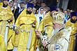 Москва. Храм Христа Спасителя. Патриарх Кирилл на праздничной службе