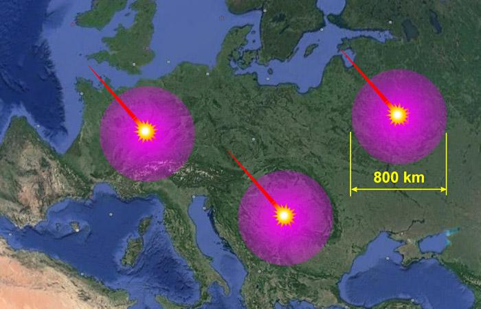 Рис.1. Зоны разрушений для случаев падения астероида в различных местах Европы