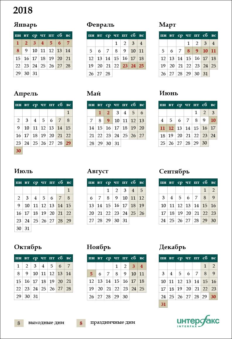 Kalendar Vyhodnyh I Prazdnichnyh Dnej Na 2018 God