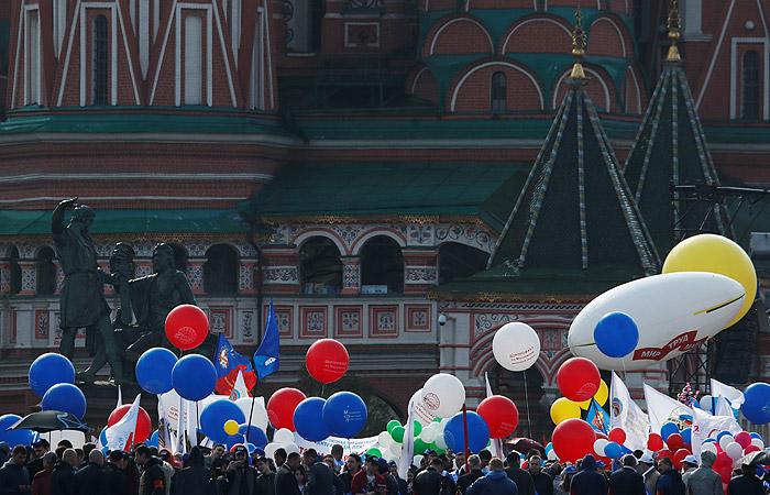 В столице России вовремя первомайской демонстрации милиция задержала колонну психоактивистов