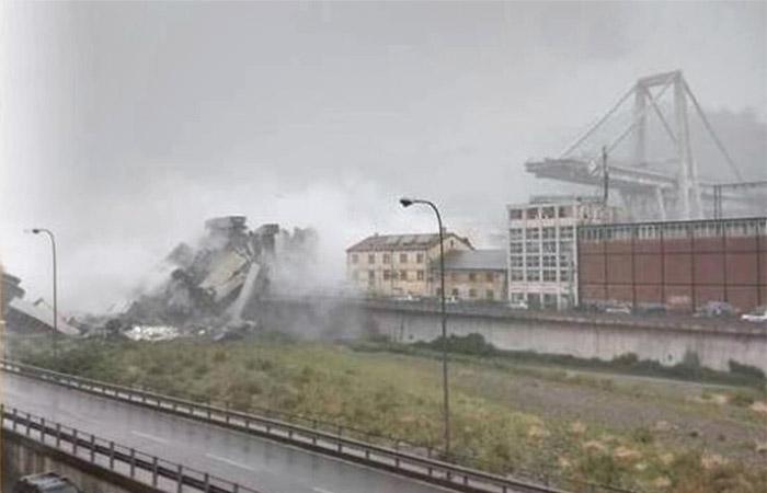 Автомобильный мост обрушился в итальянской Генуе