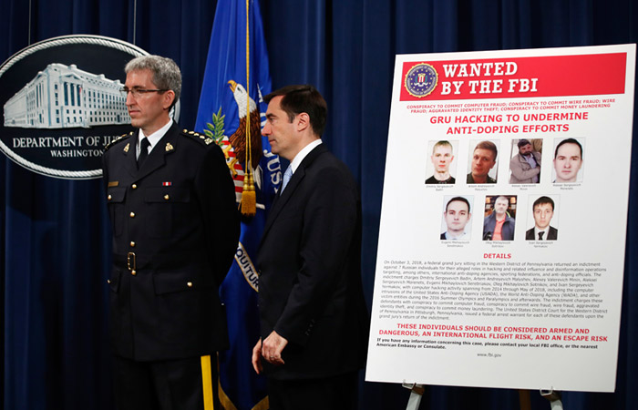 США предъявили обвинения семерым россиянам всовершении кибератак наWADA