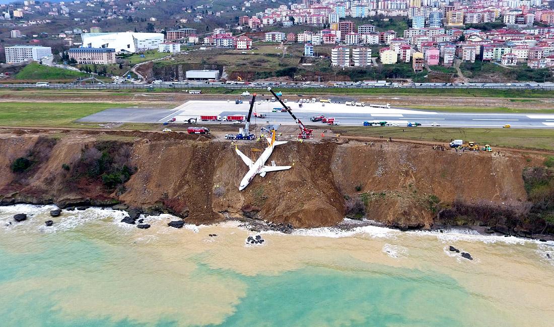 """14 января 2018 года пассажирский самолет компании Pegasus Airlines выкатился за пределы взлетно-посадочной полосы и едва не скатился по склону в море при посадке в турецком Трабзоне. """"Боинг-737"""", на борту которого находились 168 человек, остановился в десятках метрах от воды. В результате инцидента никто не пострадал."""