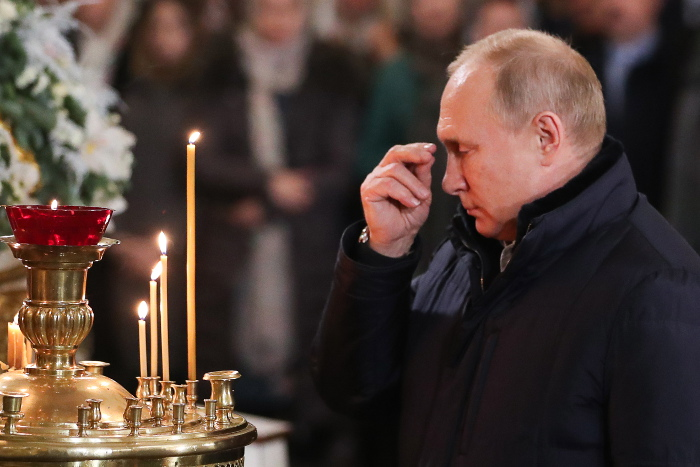 Путин приехал на Рождество в Спасо-Преображенский собор Петербурга