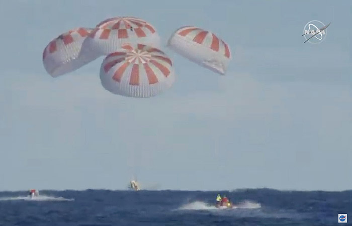 Американский корабль Crew Dragon успешно приводнился в Атлантике
