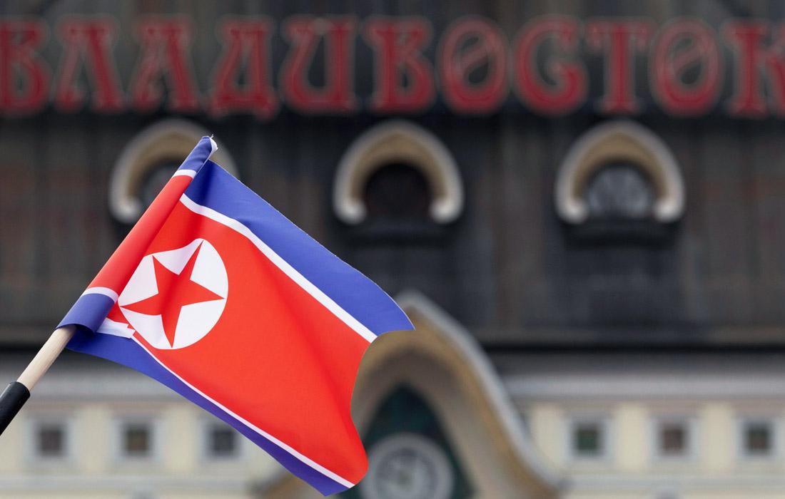 Владивосток украсили флагами России и КНДР перед встречей лидеров двух стран