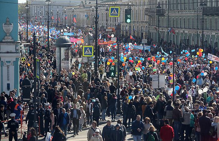 Несколько человек были задержаны на первомайском шествии в Петербурге