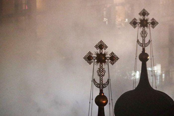 Пожар на территории Рождественского монастыря в Москве потушен