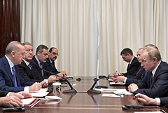 """Эрдоган на встрече с Путиным призвал положить конец """"агрессивному поведению"""" Хафтара"""