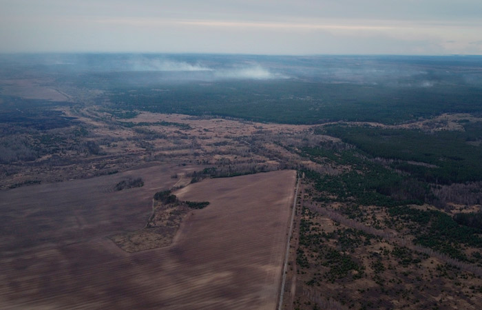 В чернобыльской зоне из-за сильного ветра возобновился пожар