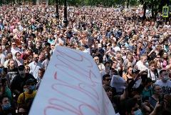 В Хабаровске на акцию в поддержку арестованного губернатора пришли до 12 тыс. человек