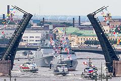 Главный военно-морской парад начался в Петербурге